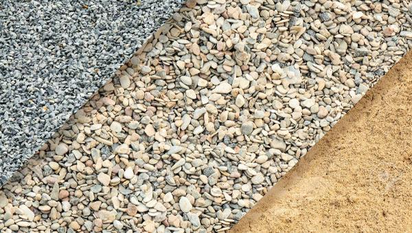 Grava y arena para construcción